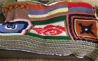 vintage large granny square colorful afghan cloth trim multi color