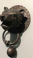 LION TIGER head old heavy front Door Knocker SOLID BRASS vintage antique style