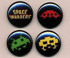 SPACE INVADERS four badge button pins set -  RETRO!