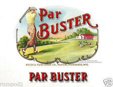 Vintage Advertising Poster/Golf Poster/Par Buster Cigar Box Label/Golf/17x22 in.