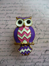 Cute Quirky Kitsch Tribal Owl Perch Purple Pink Costume Jewellery Gold Ring