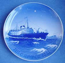 """RARE BING & GRONDAHL DENMARK CHRISTMAS PLATE 1951 BLUE & WHITE 7"""" EXCELLENT"""