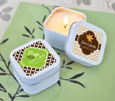 96 Personalized Square Tin Fall For Love Candles Wedding Bridal Shower Favors