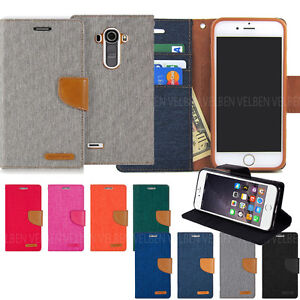 Canvas Kickstand Hybrid Flip Leather Wallet Case For iPhone XR/Galaxy S10 5G/LG