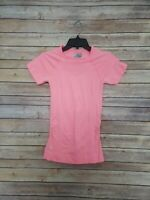 Athleta Finish Fast Line Tee Size Small Pink Coral Neon SS Ruched Top Shirt
