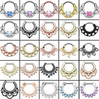 Septum Clicker Hinged Segment Nose Rings Opal Nose Piercing 316L Surgical Steel