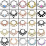 15-Styles Surgical Steel Nose Ring Septum Clicker Hinged Segment Body Piercing