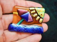 Vintage Contemporary COLORFUL Sun & Beach Scene Brooch/Slide for Necklace