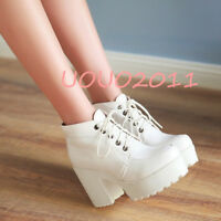 Women's Lace Up Block High Heel Platform High Top Ankle Boots Punk Fashion Shoes