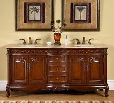 "72"" Bathroom Travertine Stone Top Lavatory Double Sink Vanity Bath Cabinet 8034T"