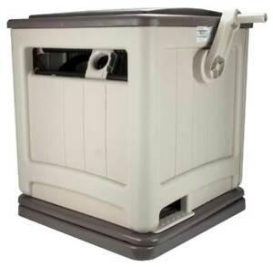 Suncast Swivel Smart Trak Hose Hideaway 225 Foot Hose Reel Storage Bin, Taupe