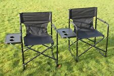 SET OF 2 Folding Directors Chairs Complete With Side Table