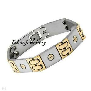 Attractive Nail Head Men Bracelet Two-Tone Stainless Steel Imported USA BNIB