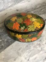 Vintage Oval Wooden Fall Autumn Leaves 70s Retro Trinket Box/Jewelerry Lidded 4""