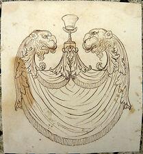 DESSIN ANCIEN vers 1800 Beau Projet d'Ornement Décoration Italie ?