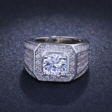Men 925 Silver Plated Crystal Square Jewelry Wedding Rings Adjustable Wide Band