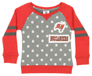 Outerstuff NFL Little Girls Tampa Bay Buccaneers Logo Polka Dot Long Sleeve Crew