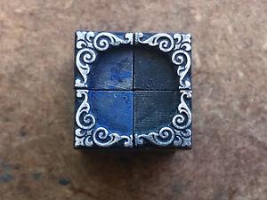 Antique 4 piece Collection PRINTERS BLOCKS Art Nouveau Ornamental Corner Pieces