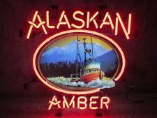 "New Alaskan Brew Amber Real Glass Neon Sign 24""x20"""
