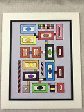 Original Modern Art Painting Geometric Pop Art 80s Retro Contemporary Abstract