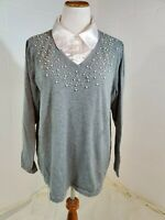 Quacker Factory Plus Size Vintage 1990s Does 1950s Gray Sweater w  Pearl Beads