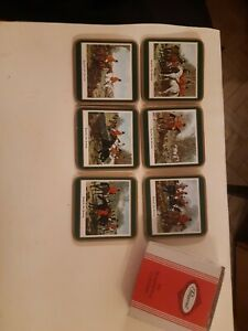 Vintage Pimpernel Traditional Coasters - Set Of 6 - Square - English Fox Hunting
