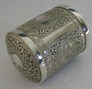STUNNING ANTIQUE INDIAN CEYLON SOLID SILVER TEA CADDY BOX CANISTER c1910 ANTIQUE