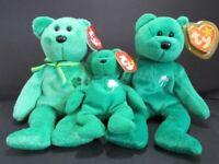 """TY Beanie Babies Bears 8"""" Plush Green Erin & Dublin With Ty Teeny Beanie Erin"""