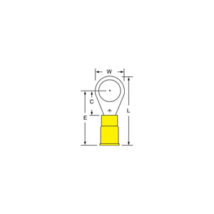 3M Vinyl Insulated Butted Seam Ring Tongue Terminal 13-38-P