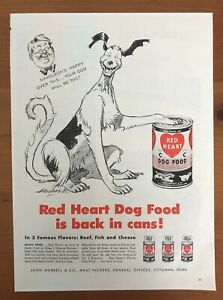 Original 1947 Magazine Print Ad RED HEART Dog Food in Cans Napoleon's Happy