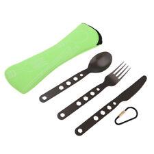 Outdoor Lightweight Camping Cutlery Set Knife Fork Spoon w/ Case Green