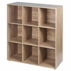 9-Cube Storage Bookshelf Wide Wooden Bookcase Display Shelf Freestanding Cabinet