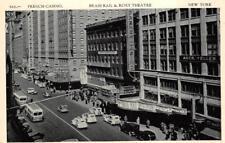 FRENCH CASINO BRASS RAIL & ROXY THEATRE NEW YORK CAR BUS POSTCARD (c. 1940s)