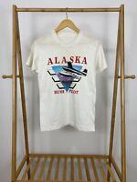 VTG 1990 Alaska Bush Pilot Super Thin Short Sleeve White T-Shirt Size S