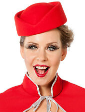 Premium Stewardess Filz Kappe Rot NEU - Karneval Fasching Hut Mütze Kopfbedeckun