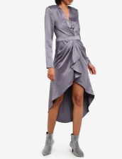 Plunge Shoulder Pad Dip Hem Satin Grey Party Dress Size UK 12 DH096 FF 07