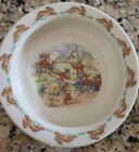 Royal Doulton Bunnykins cereal bowl Easter rabbits at playing Seesaw RARE
