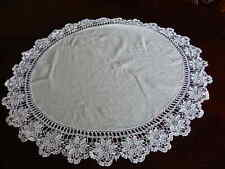 """ANTIQUE Linen and Hand Crochet Lace ROUND Table Topper  White Doily 26"""" Across"""