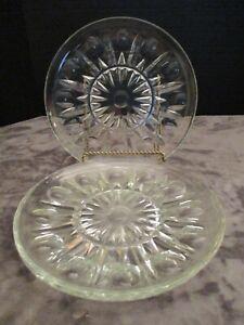 PRINCESS HOUSE REGENCY CLEAR CUT GLASS VERTICAL CUT & CIRCLES 3 DINNER PLATES