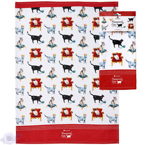 Ashdene Pampered Cats Kittens   Tea Kitchen Towels   Animal Lovers   100% Cotton
