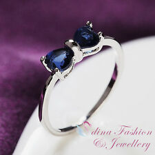 18K White Gold Plated Made With Swarovski Crystal Slim Bow knot Sapphire Ring