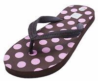 LADIES BROWN POLKA TOE-POST FLAT COMFY FLIP-FLOP THONG BEACH SANDALS SHOES 3-8