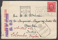 Australia, Sydney Slogan to Bombay, India redirect Colombo, Ceylon; Censor; 1942