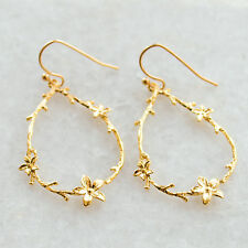 Gold Floral Chandelier Earrings Twig Branch Flower Dainty Delicate Ear Hooks