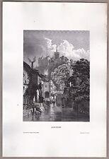Meißen, Meissen - Teilansicht mit Dom u. Albrechtsburg - Stich, Stahlstich 1861