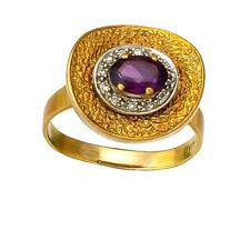 Modern 14K Rose Gold Amethyst & Diamond Statement Cocktail Ring Size 8