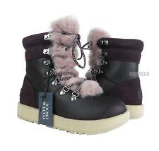 UGG Viki Waterproof Port Purple Leather Fur Boots Womens Size 7 ~NIB~