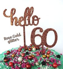 """""""Hello 60"""" ROSE GOLD RAW TIMBER 60TH AGE HAPPY BIRTHDAY CAKE TOPPER DECORATIONS"""
