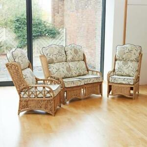 Cane Conservatory Furniture - Set or Sofa or 2 Armchairs with Cushion Choice