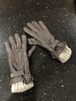 Orvis Women's Tan Cashmere & Brown Leather driving Gloves sz L